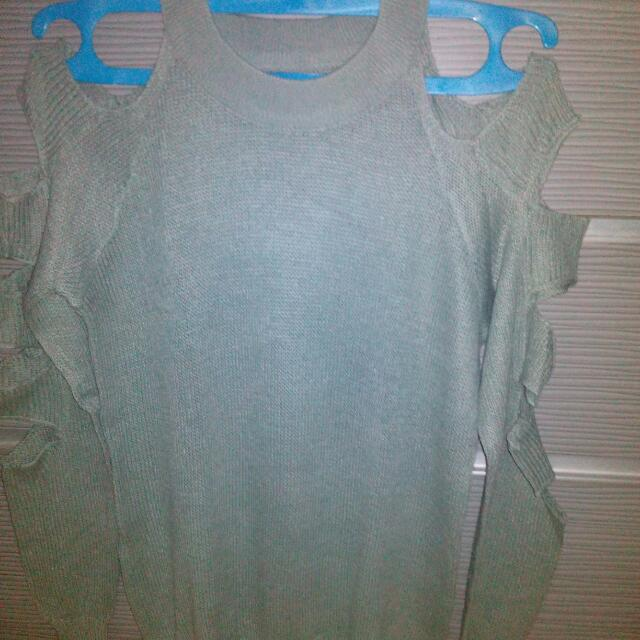 Grey Ripped Knit Sweater