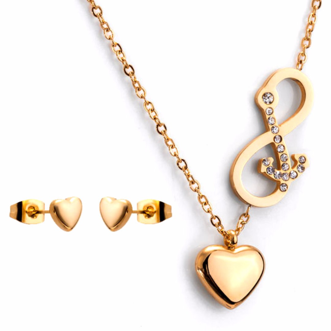 Heart infinity anchor pendant necklace gold jewelry set preloved photo photo photo photo photo aloadofball Images