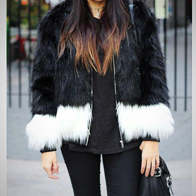 H&M - Black & White Faux Fur Jacket