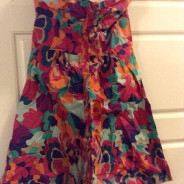 H&M dress red,grey, and green floral spaghetti strap dress
