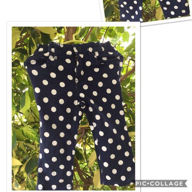 H&m kids dark blue polka pants (1-3yo)