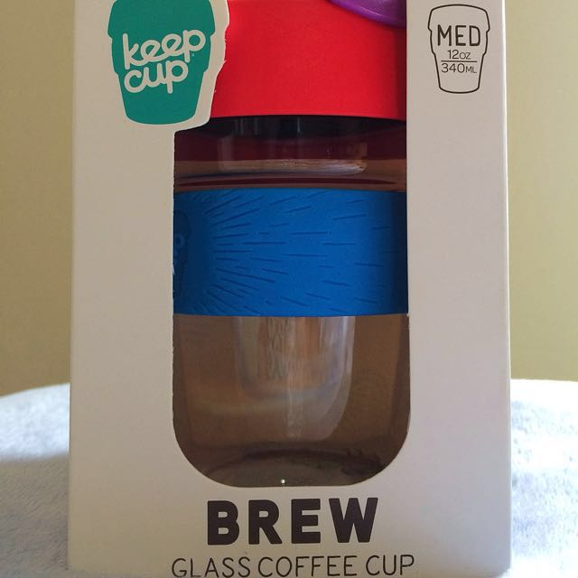Keep Cup Reusable/Glass Coffee Cup (Med/12oz/340ml)