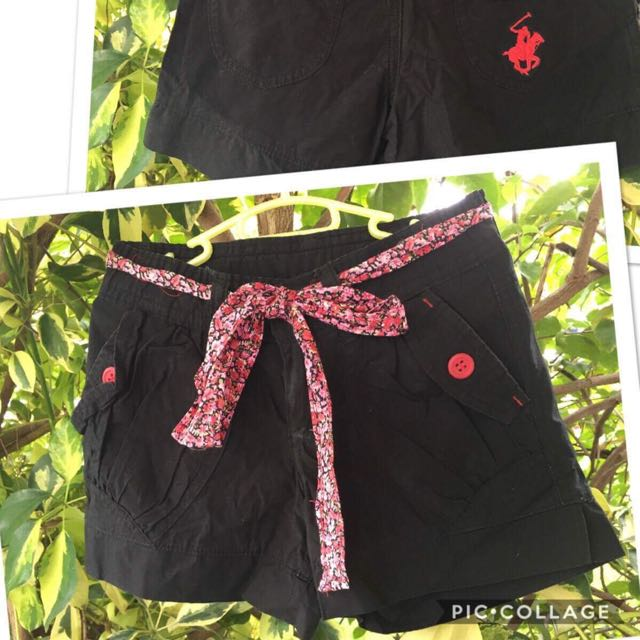 Kids black short with floral belt (4-6yo)