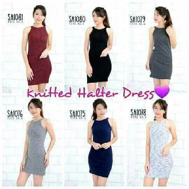KNITTED HALTER DRESS
