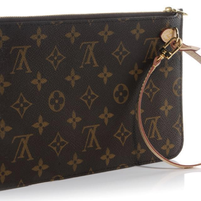 Louis Vuitton Neverfull Pochette (monogram, beige)
