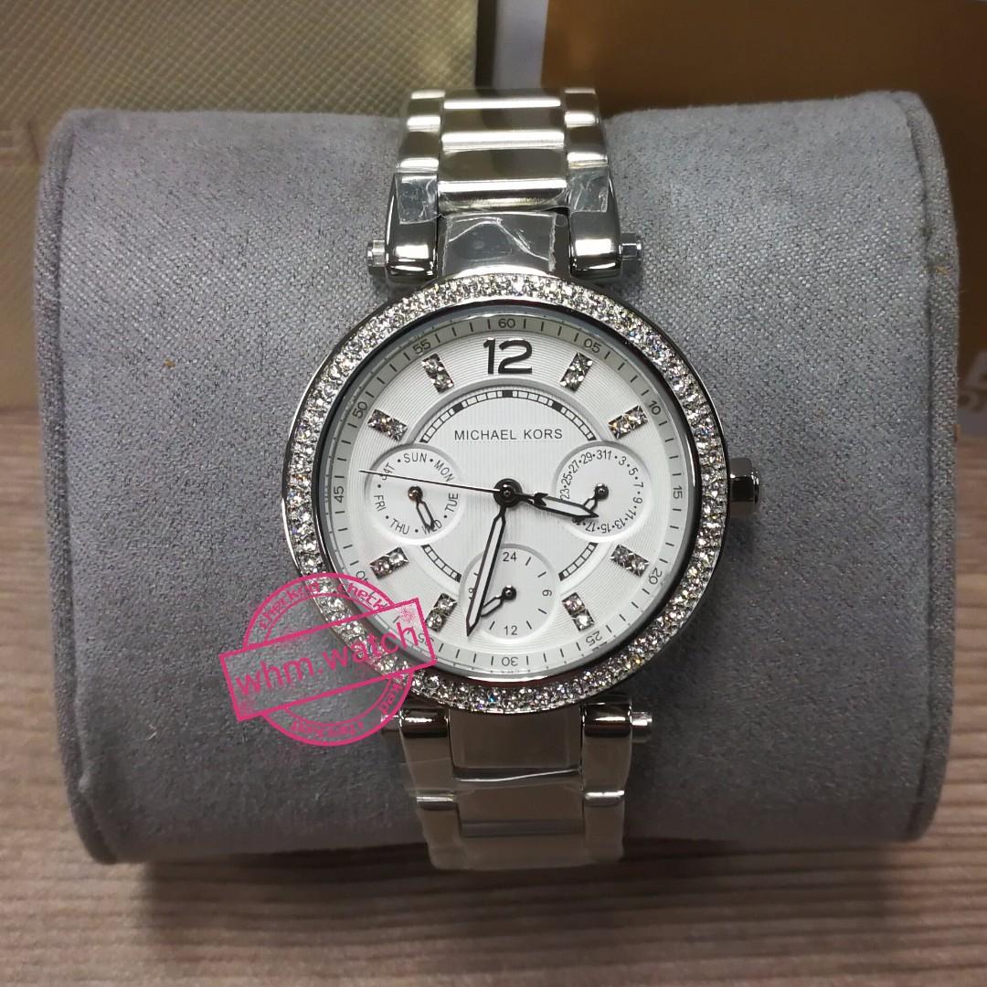 44ce93f25431 Michael KORS(MK)   MK5615 Parker Pavé Sliver Tone Watch
