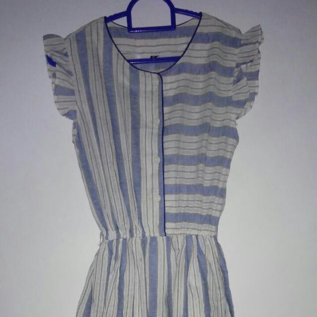 Midi Dress Salur Biru Putih