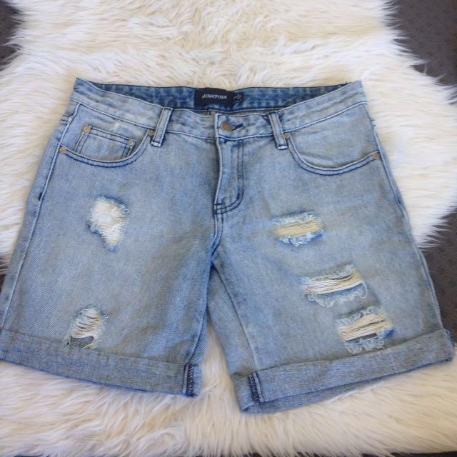 Mink Pink Ripped Jeans Denim Boyfriend Shorts Size S
