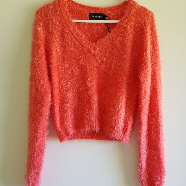 MinkPink Cropped Fluffy Jumper Size S