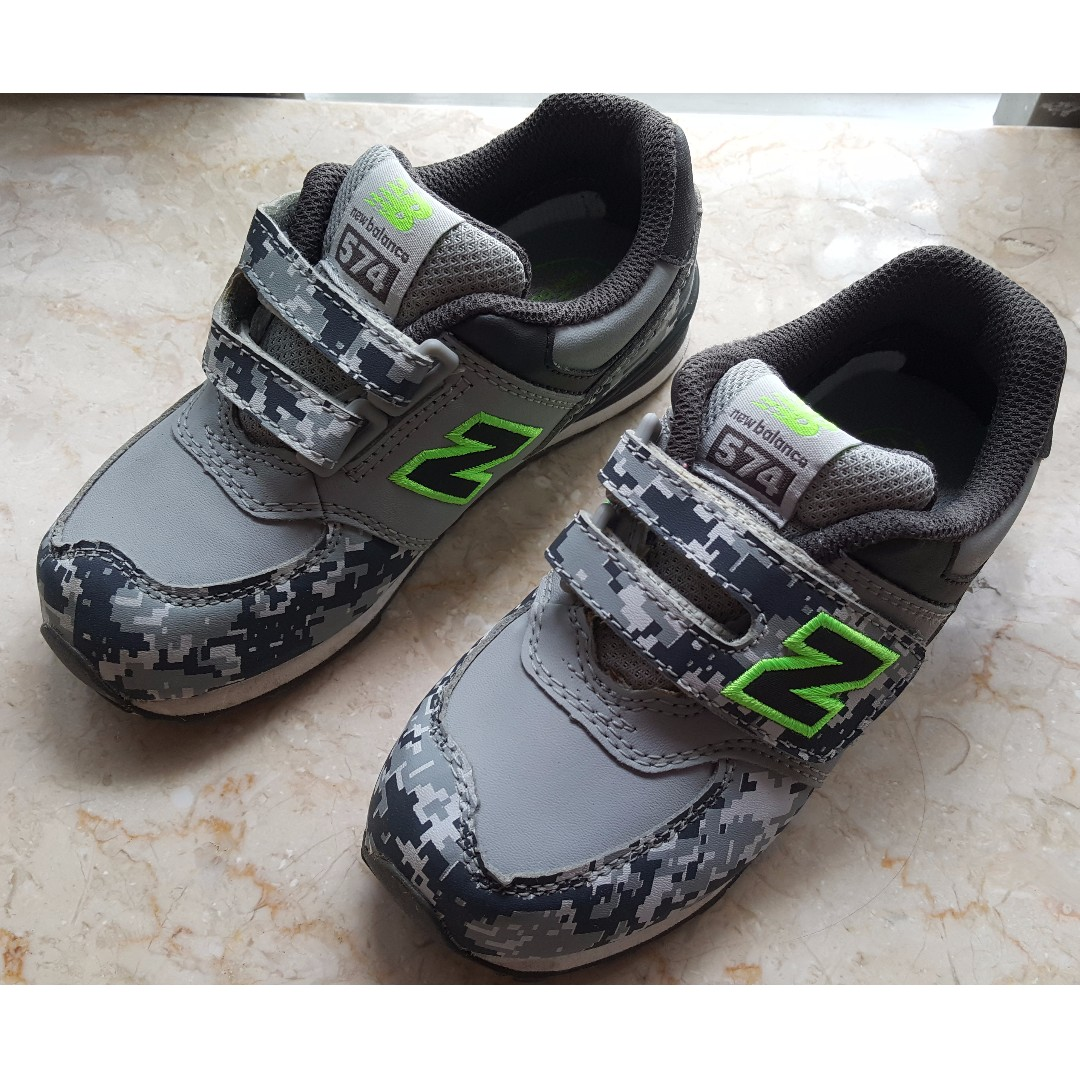 low priced c11c8 bf37a NEW BALANCE 574 Grey Camouflage Print Kids' Sneakers, USA 10 ...