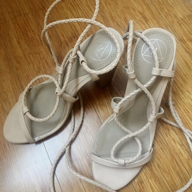 Nude Lace Up Sandals