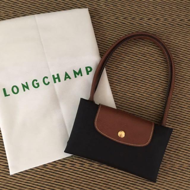 Original Long Champ foldable Black long handle Small