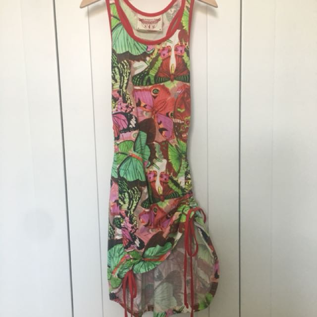 Paper Wings red butterfly racer back dress
