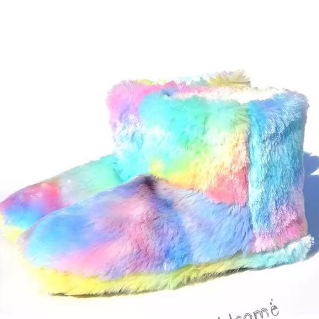 Pastel furry ugg boots bedroom slippers