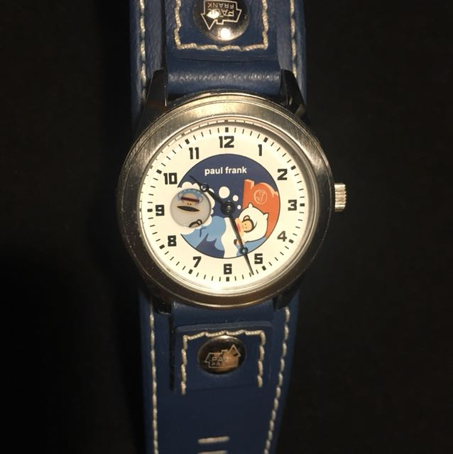 Paul Frank sleeping blue leather band watch.