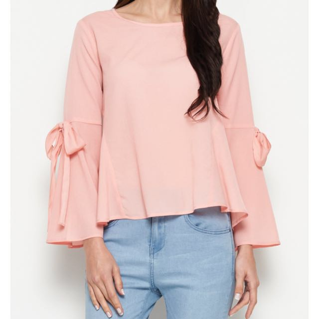 Pink Top With Ribbon Sleeves