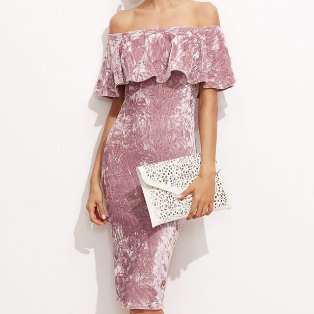 Pink velvet dress size 6