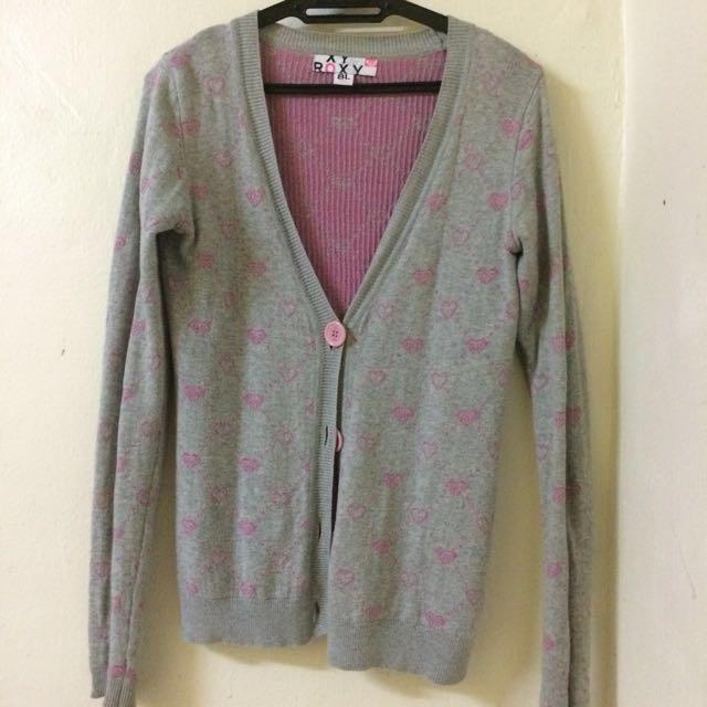 Roxy Grey Pink Cardigan