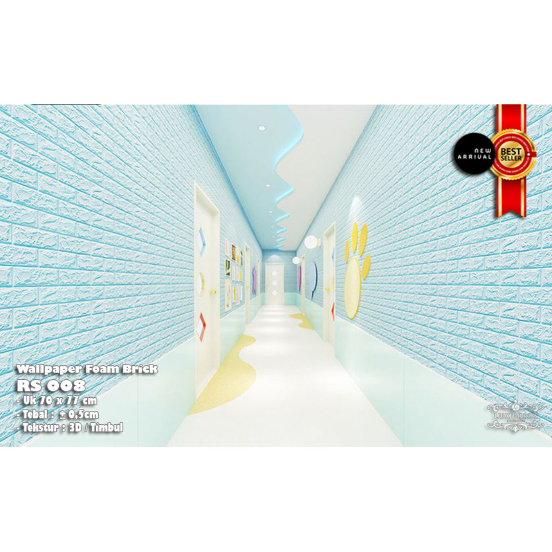 SALE !! 3D Wallpaper/EMBOSSED/TEXTURE Foam Brick - Limited TIME SALE (BABY BLUE)