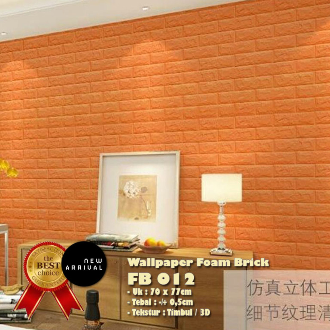 SALE !! 3D Wallpaper/EMBOSSED/TEXTURE Foam Brick - Limited TIME SALE (Orange Solid)