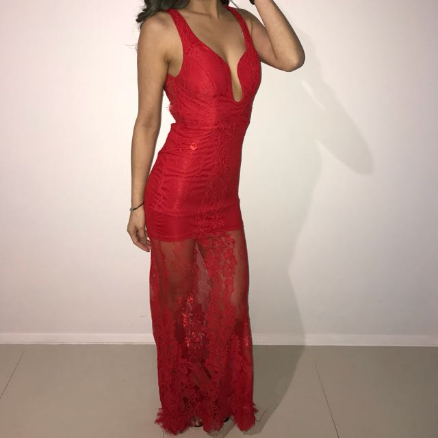 Sexy red lace backless evening gown