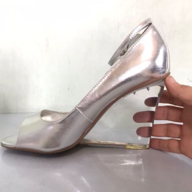 Silver transparent heels wedge
