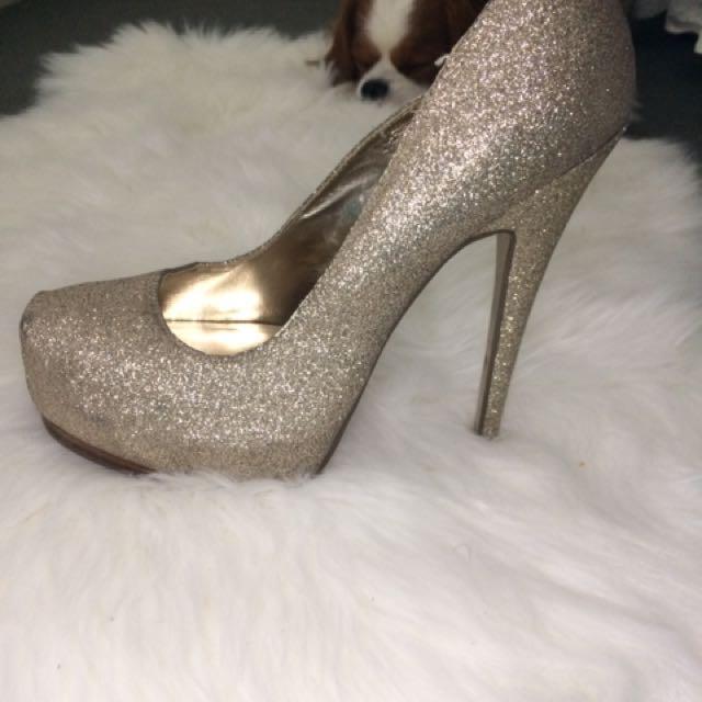 Sparkly/Glittery Gold Heels Platform Stiletto Heels