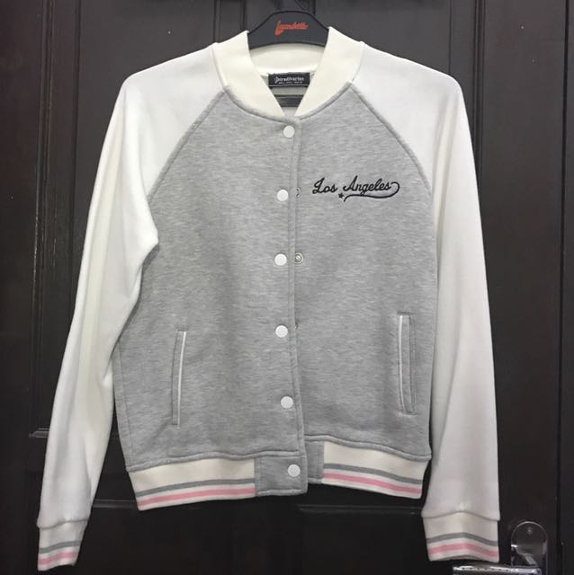 Stradivarius Varsity Jacket White Grey Size L