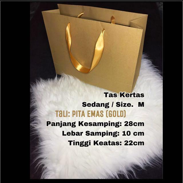 Tas kertas / paper bag / paperbag pita Emas (GOLD) / kantong kertas