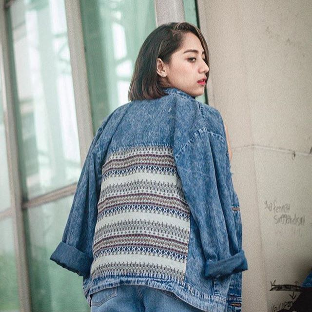 Tribal oversize Ripped Jacket (Premium Pull and Bear) look a like 99% mirip
