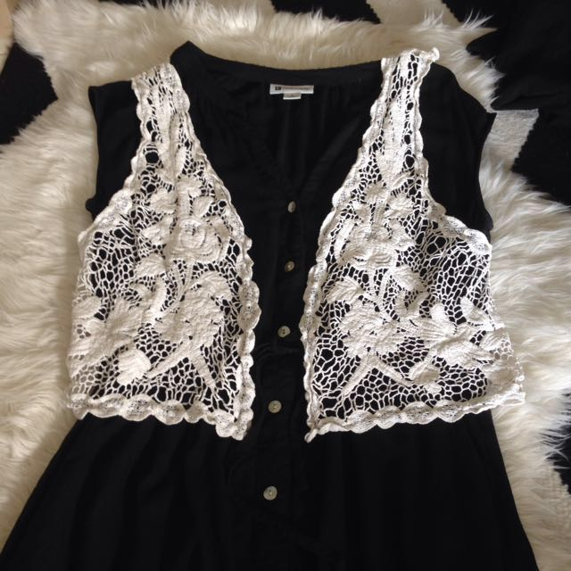 White Lace West Knitted Hippie Top Size xs-s