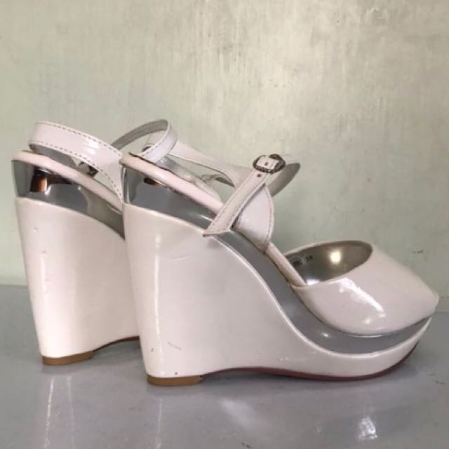 White patent with silver wedge