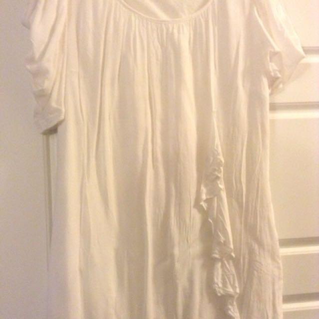 White wide neck shirt dress size small medium