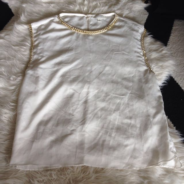 Witchery White Gold Shirt Top Blouse Tee Size 10