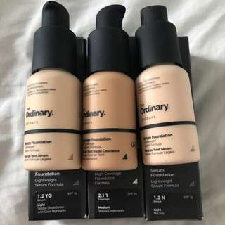 The Ordinary Serum Foundations - sample size/takals