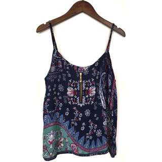 Cotton Printed Cami Top Zip Neckline in Navy Print