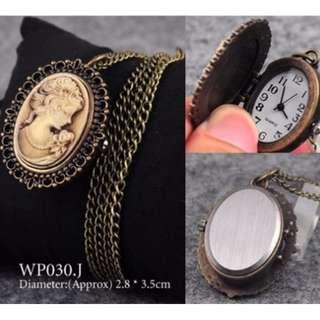 Retro Vintage Bronze pocket Watch Quartz Necklace Pendant