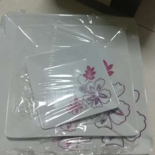 3piece flower plate set