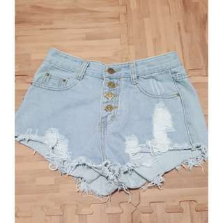 淺藍排扣高腰超短褲 #兩百元丹寧