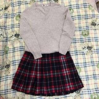 蘇格蘭紋及膝羊毛裙
