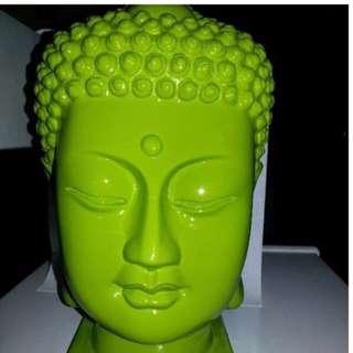 Buddha Head Green Medium. Item No: VR041L, Size::21×21×27cm ( LxWxH )