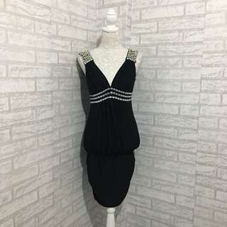 Black Beaded Deep V Neck Dress