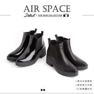 AIR SPACE 美靴首選彈力尖頭厚底短靴-漆皮黑 - 38碼(9成新)