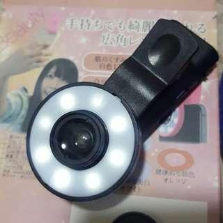 自拍神器 補光燈加廣角鏡頭