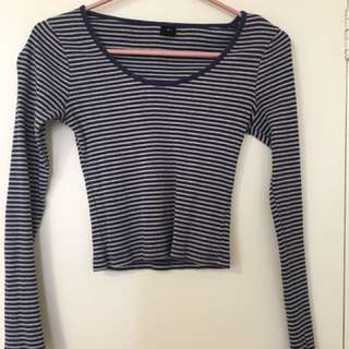 Blue and Cream Striped Long Sleeve Crop
