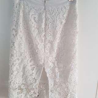 White Laced Midi Skirt