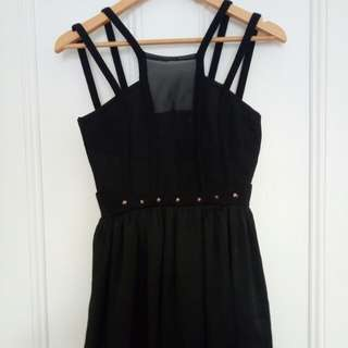 Size M black strappy mesh dress