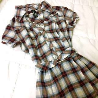 Guess Plaid Belted Dress