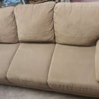 Mocca/Beige 3 Seater Suede Sofa