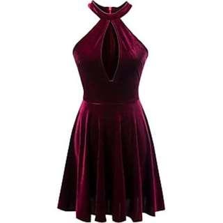 Velvet keyhole skater dress